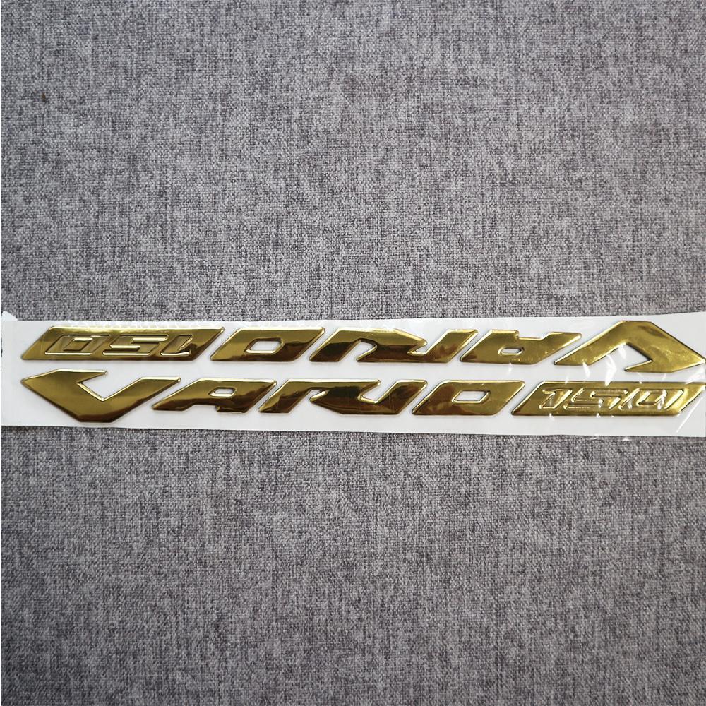 Bộ tem logo chữ nổi xe máy Vario 2018, chất liệu nhựa dẻo si bóng màu vàng