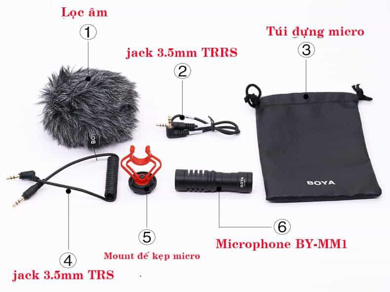 BOYA BY-MM1( Tặng Kèm Đệm Lót) Mic Thu Âm Cho Máy Ảnh DSLR, Mirroless, Smartphone - Hàng Chính Hãng