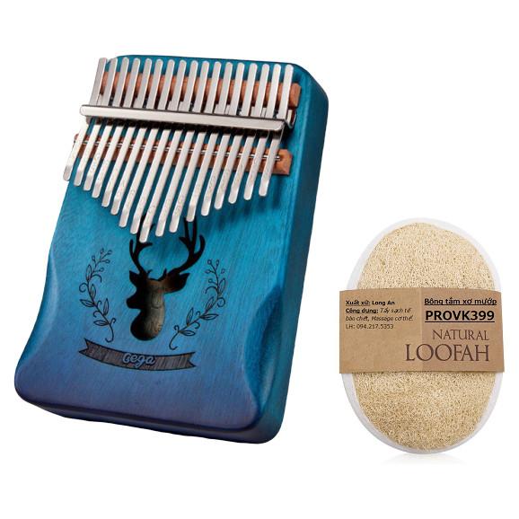 Đàn kalimba 17 phím Nai xanh phun sơn cao cấp CEGA88950-4572 Đầy đủ phụ kiện, búa chỉnh âm -Tặng bông tắm xơ mướp PROVK399