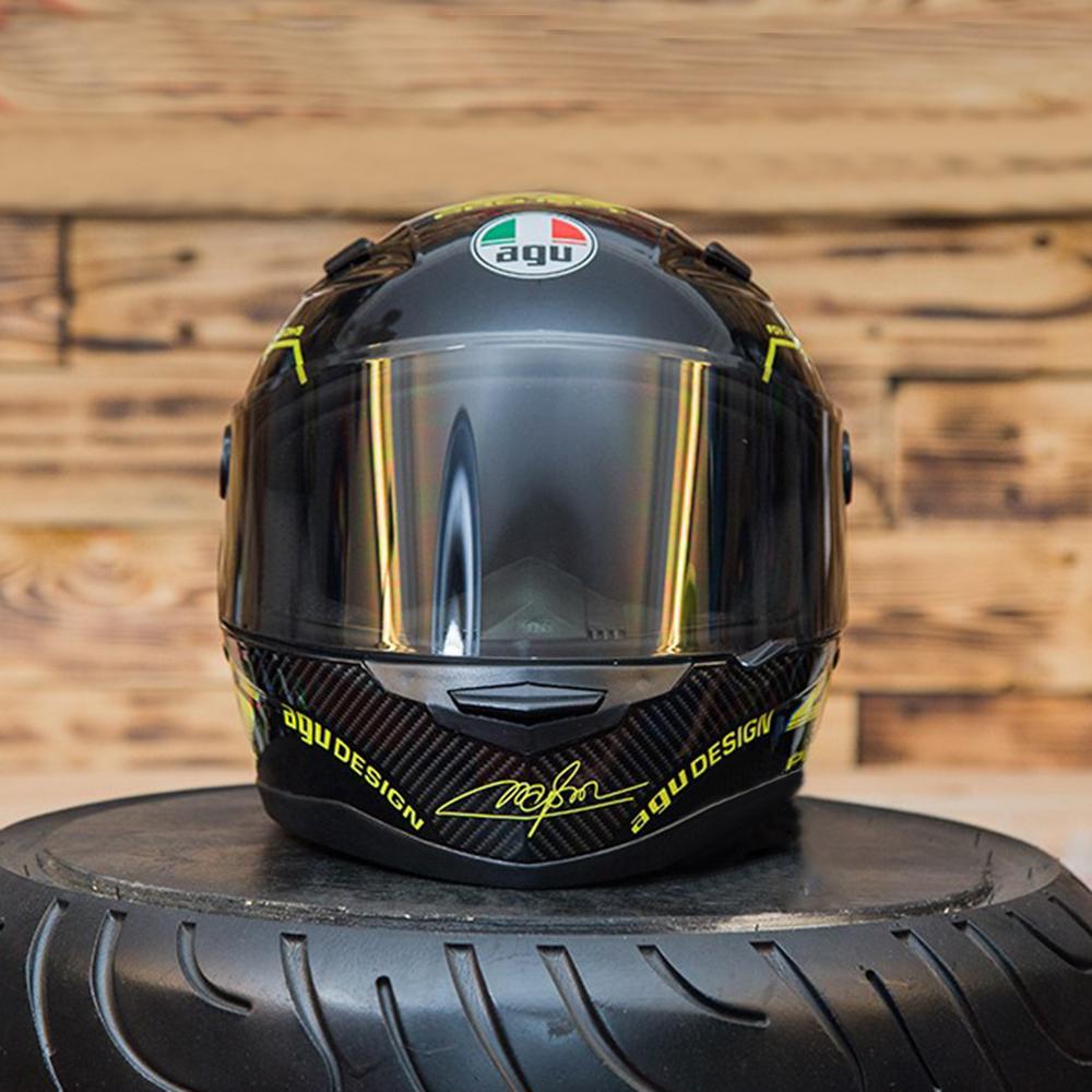 Nón Fullface Moto Phượt AGU 14 Vàng _ Mũ Bảo Hiểm Đẹp