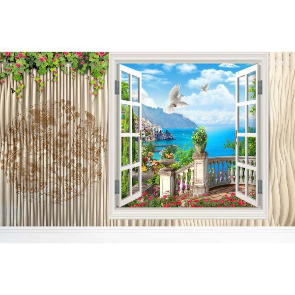 Tranh dán tường cửa sổ 3D   Tranh trang trí cửa sổ 3D   Tranh đẹp cửa sổ 3D   Tranh 3D cửa sổ đặc sắc   T3DMN T6 Human_62864