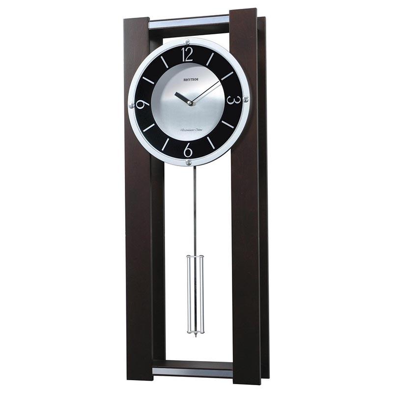 Đồng hồ treo tường RHYTHM SIP (Sound In Place) Wall Clocks CMJ522NR06 (Kích thước 27.2 x 72.0 x 10.0cm), Vỏ màu Nâu