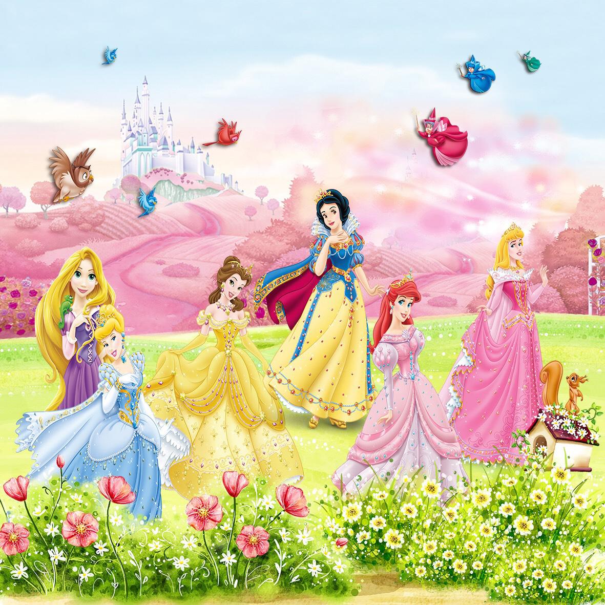 Tranh dán tường 3D hình công chúa trang trí cho bé vải lụa - 120x180cm
