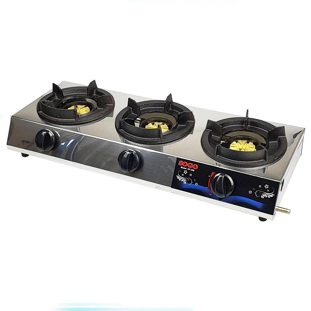 Bếp khè ga, bếp hải sản công nghiệp 3 lò nấu Sogo tặng kèm van dây ga ( van ga màu ngẫu nhiên)-Hàng chính hãng