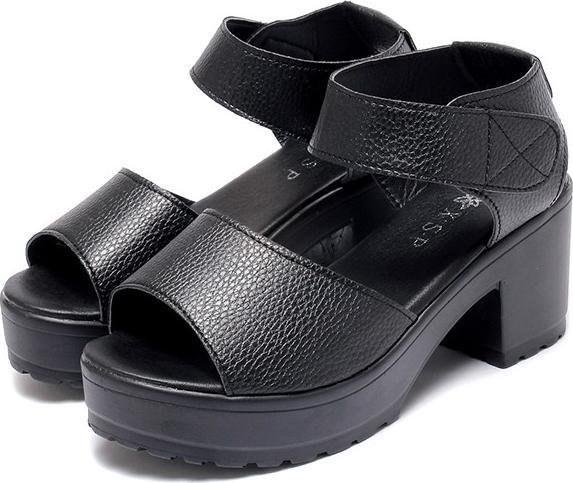 Giày Sandal đế thô quai dán S062Đen - Size 39