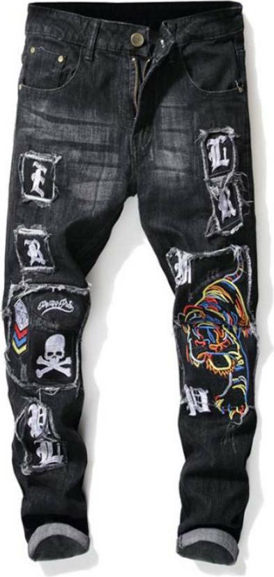 Quần jeans nam chắp vá con cọp sắc màu Mã ND1295