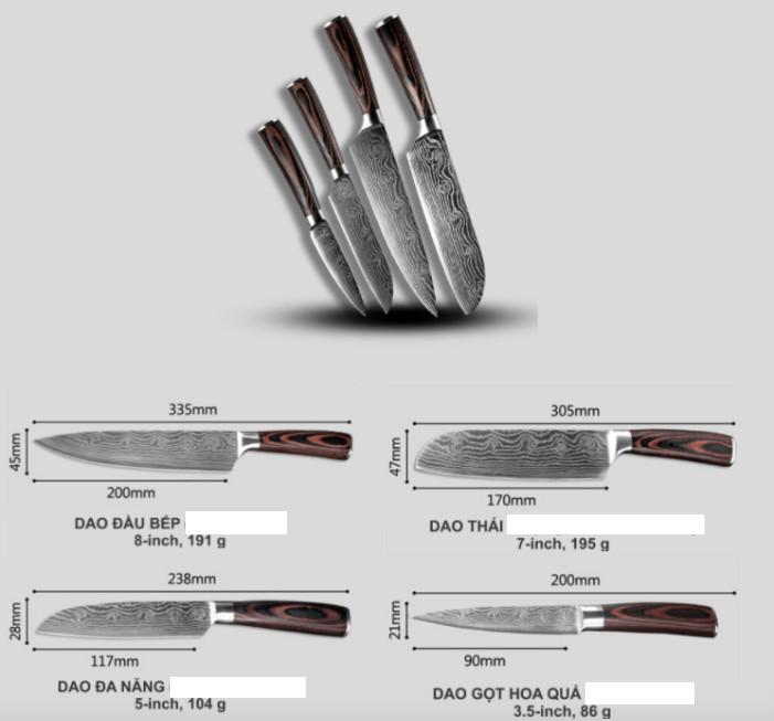 Bộ 4 dao làm bếp siêu bén