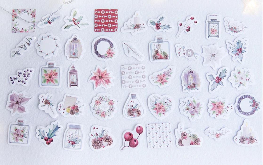 Hộp 45 Miếng Dán Sticker Trang Trí The Flowers Of Christmas