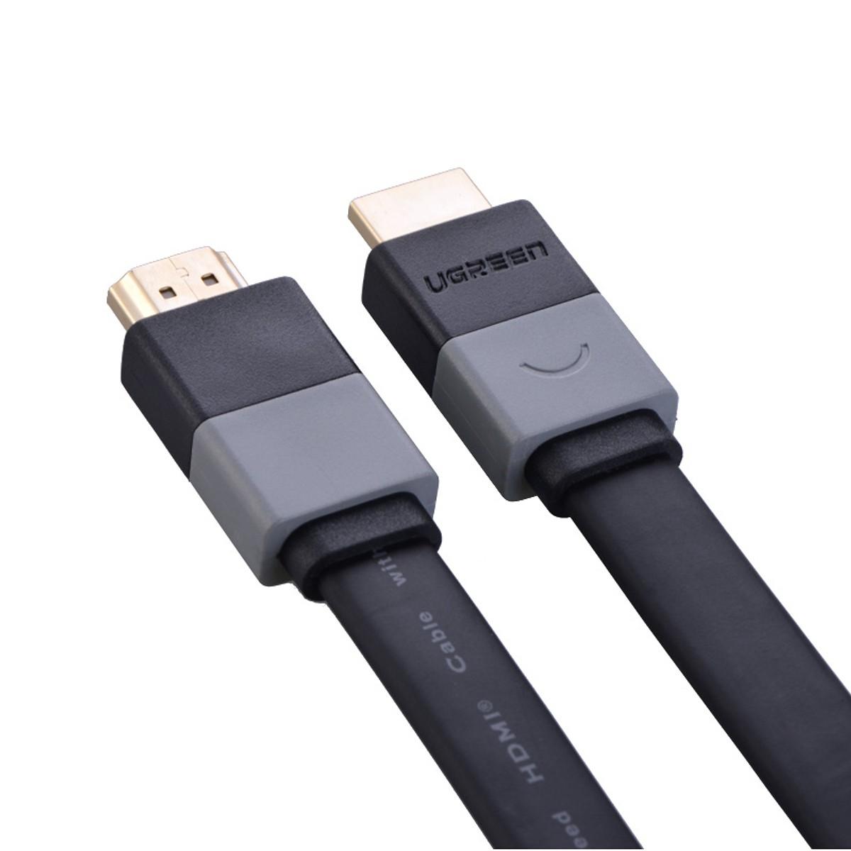 Cáp HDMI Dẹt 2m Lõi Đồng Hỗ Trợ 3D/4K Ugreen - Hàng chính hãng