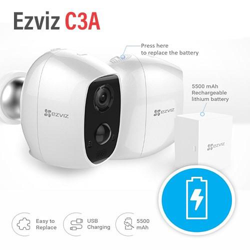 Camera IP Wifi ngoài trời EZVIZ C3A FHD 1080P - Dùng Pin Sạc - đàm thoại 2 chiều - hàng chính hãng 4