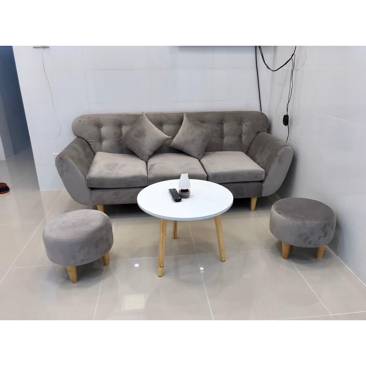 Bộ sofa băng xám trắng nhung PHKH7