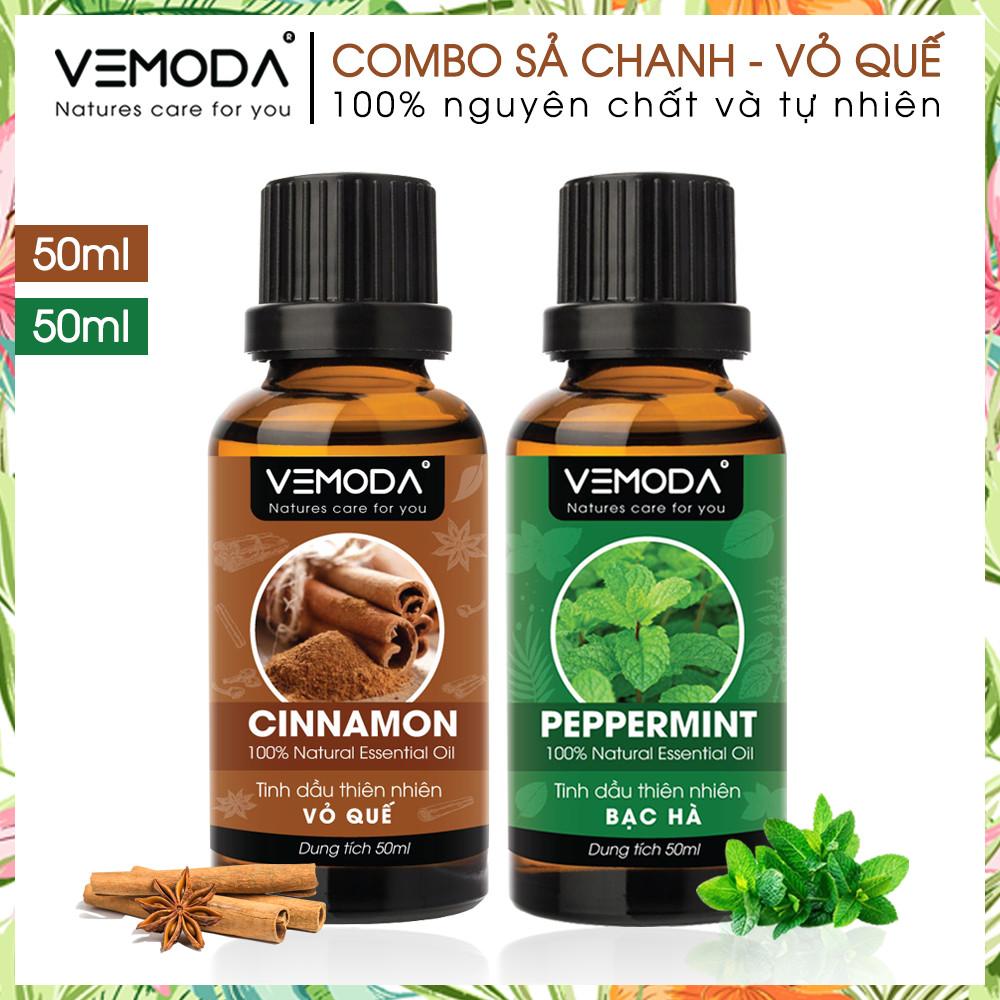 Tinh dầu xông phòng cao cấp gồm 2 chai tinh dầu nguyên chất: tinh dầu Bạc hà (50ml) + tinh dầu Vỏ quế (50ml) Vemoda