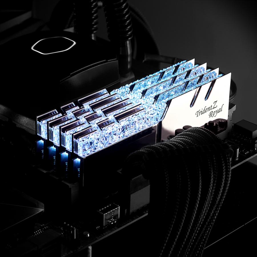 Bộ 2 Thanh RAM PC G.Skill 16GB (8GBx2) Trident Z Royal DDR4 F4-3000C16D-16GTRS Silver - Hàng Chính Hãng