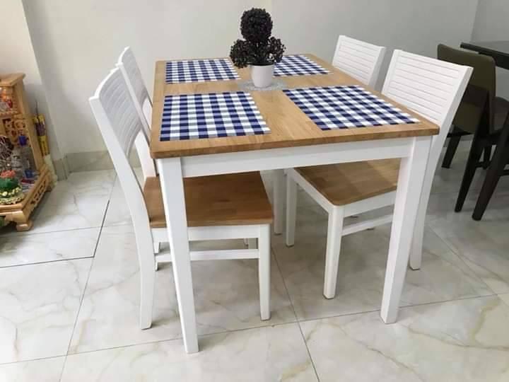 Bộ bàn ăn 4 ghế Cherry 1m2 MÀU TRẮNG xuất khẩu