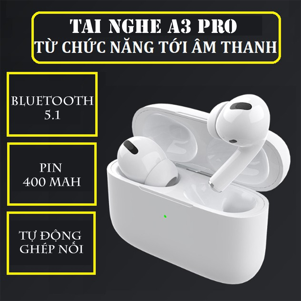 Tai Nghe Không Dây Bluetooth 5.0 TWS A3 Pro Tích Hợp Micro Tự Động Kết Nối Âm thanh siêu chất -4121