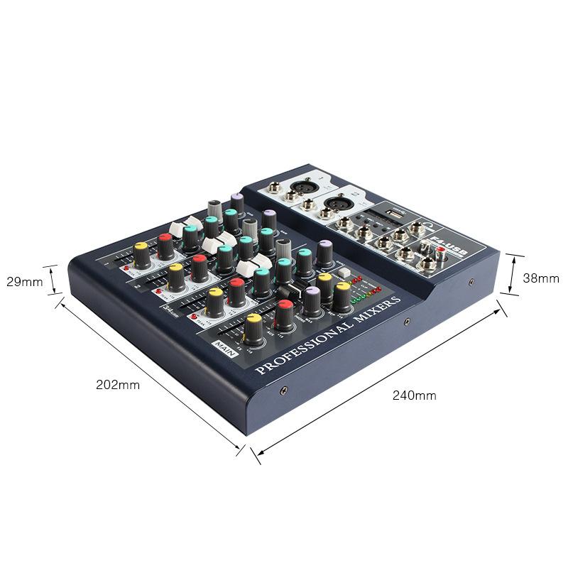Bộ Mixer Âm Thanh Hát Live, Thu Âm, Điều Khiển Trộn Âm Thanh Bluetooth F4-USB (Bản Mới Nâng Cấp)