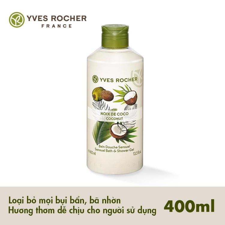 Combo Gel tắm Yves Rocher 400ml + Dưỡng thể Yves Rocher 390ml - Hương Dừa