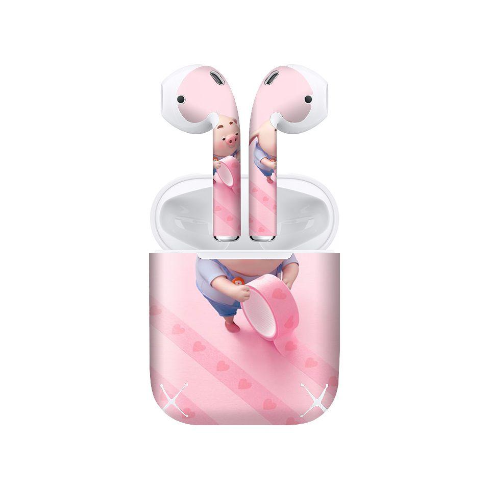 Miếng dán skin chống bẩn cho tai nghe AirPods in hình Heo con dễ thương - HEO2k19 - 031 (bản không dây 1 và 2)