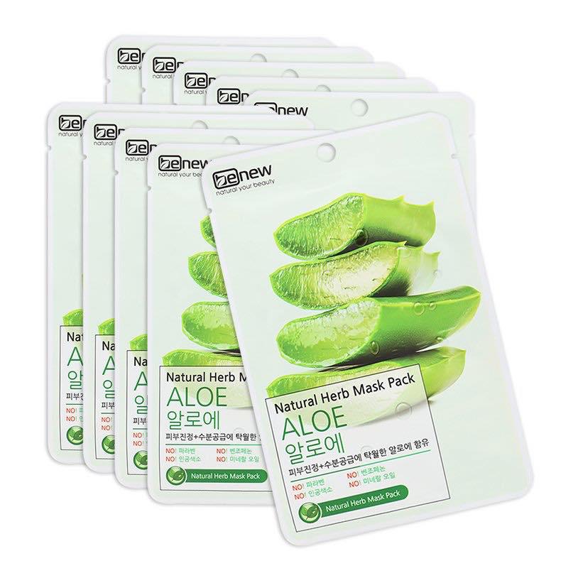 Mặt Nạ Lô Hội Benew Natural Herb Mask Pack Aloe (Hộp 10 Miếng x 22ml)