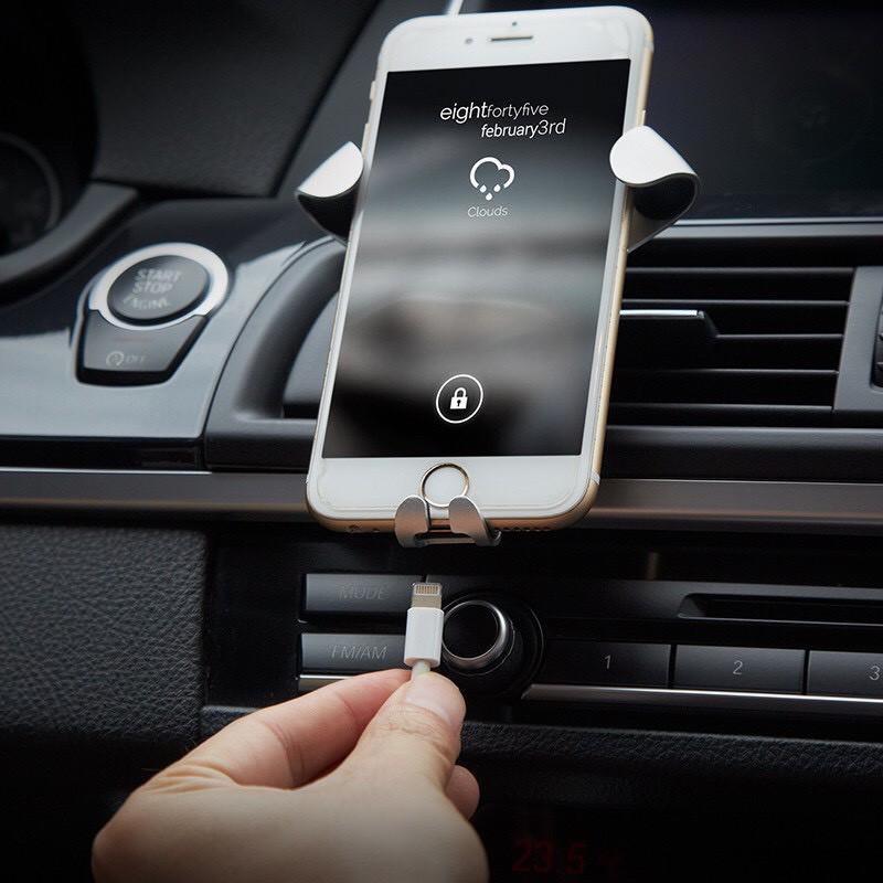 Giá đỡ kẹp điện thoại tự động khóa mở cài cửa gió điều hòa xe hơi