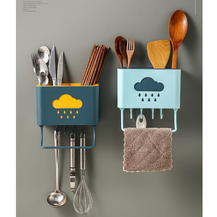 Ống đũa treo tường đám mây tiết kiệm diện tích có móc treo dụng cụ nhà bếp tiện ích - giao màu ngẫu nhiên