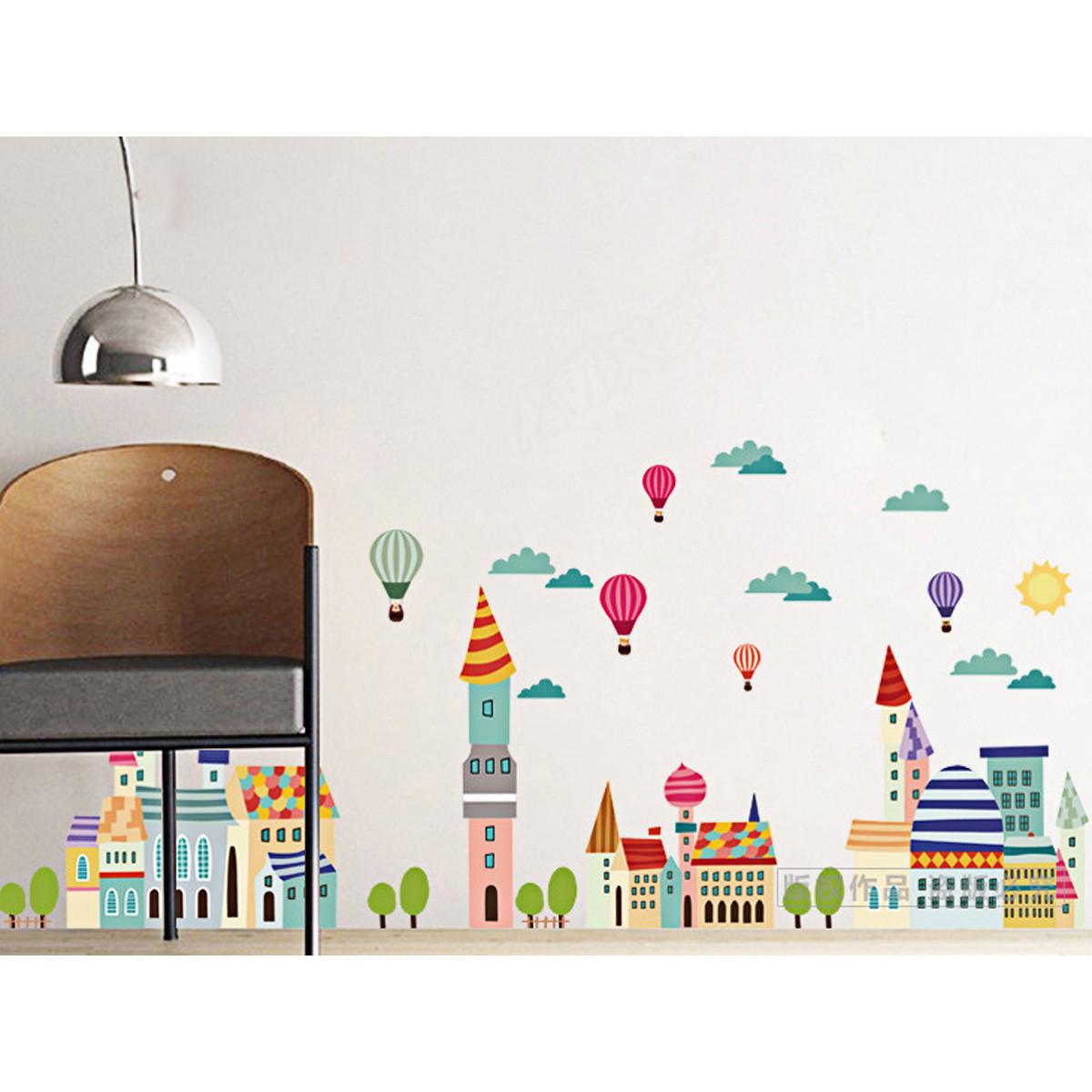 decal dán tường thành phố bóng bay