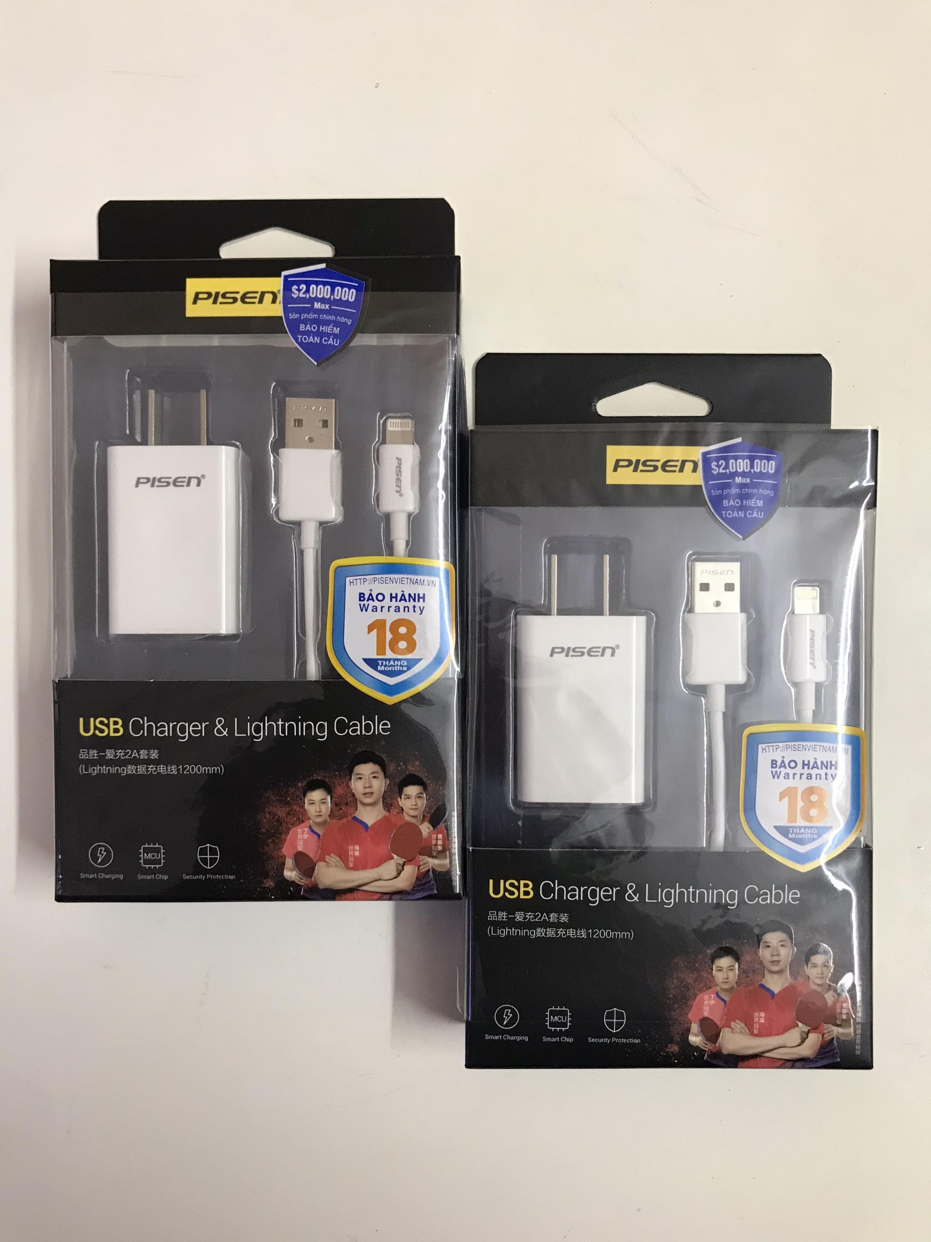 Combo Sạc  Pisen  USB Charger 2A Lightning (sạc nhanh Pisen 1 cổng 2A kèm cáp sạc lightning 1.2m)-Màu ngẫu nhiên - Hàng chính hãng