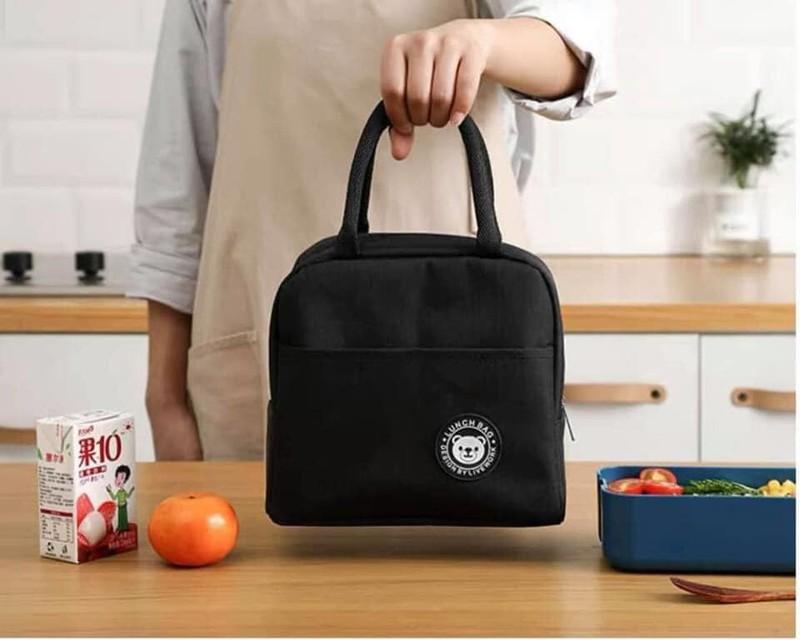 Túi giữ nhiệt trơn logo hình gấu-(giao màu ngẫu nhiên)TGNG