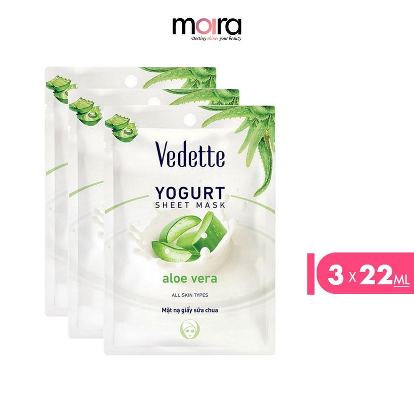 Combo 3 Mặt nạ giấy sữa chua Vedette Nha đam 22ml