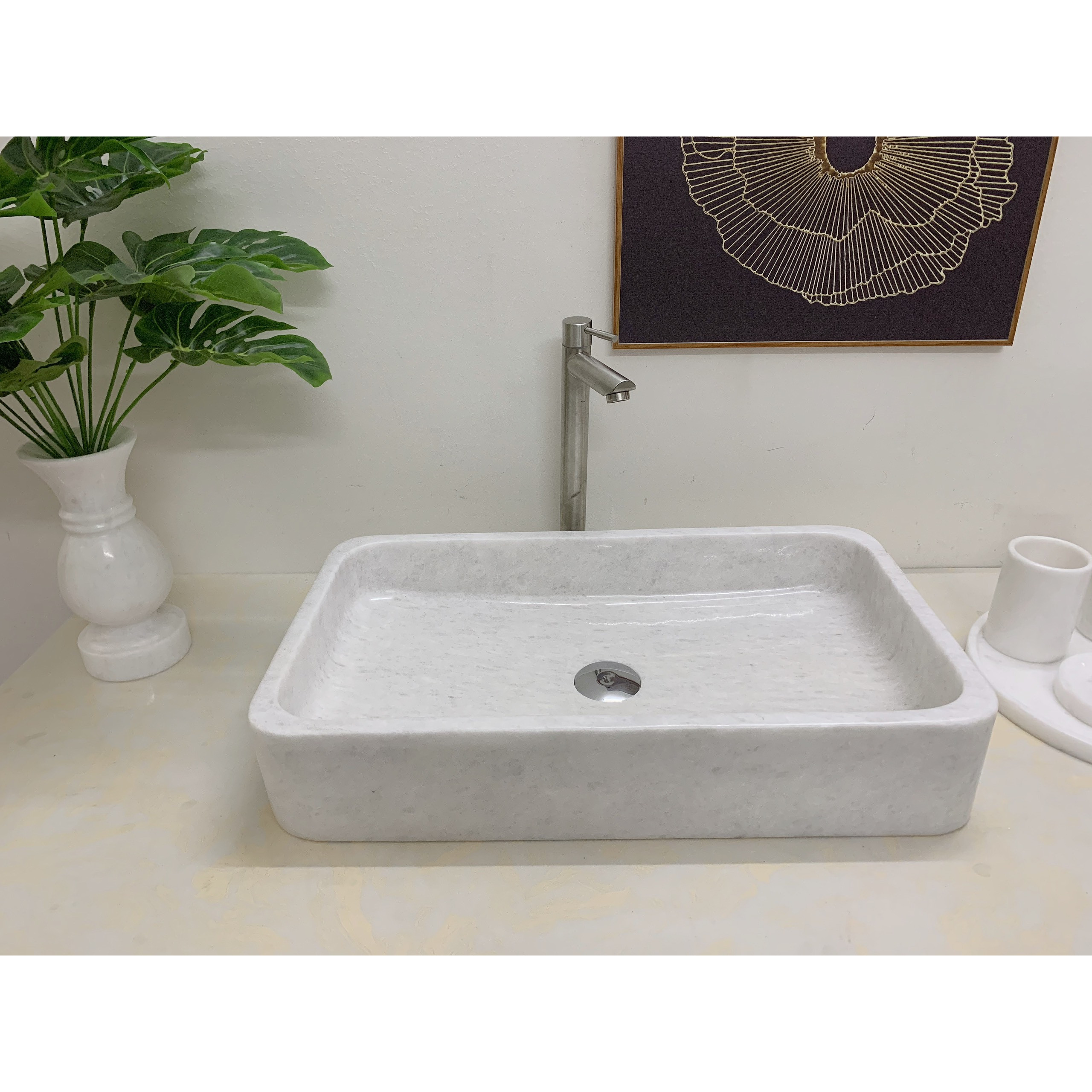 Chậu rửa mặt lavabo đá tự nhiên hình chữ nhật trắng mỏng BST57A
