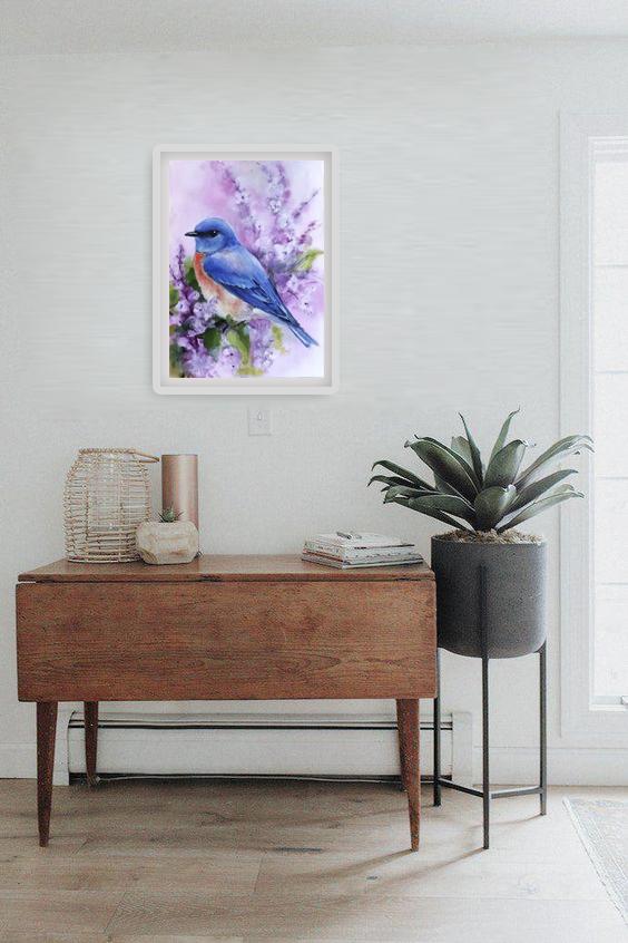 Tranh sơn dầu họa sỹ sáng tác vẽ tay: CHÚ CHIM XANH (8)