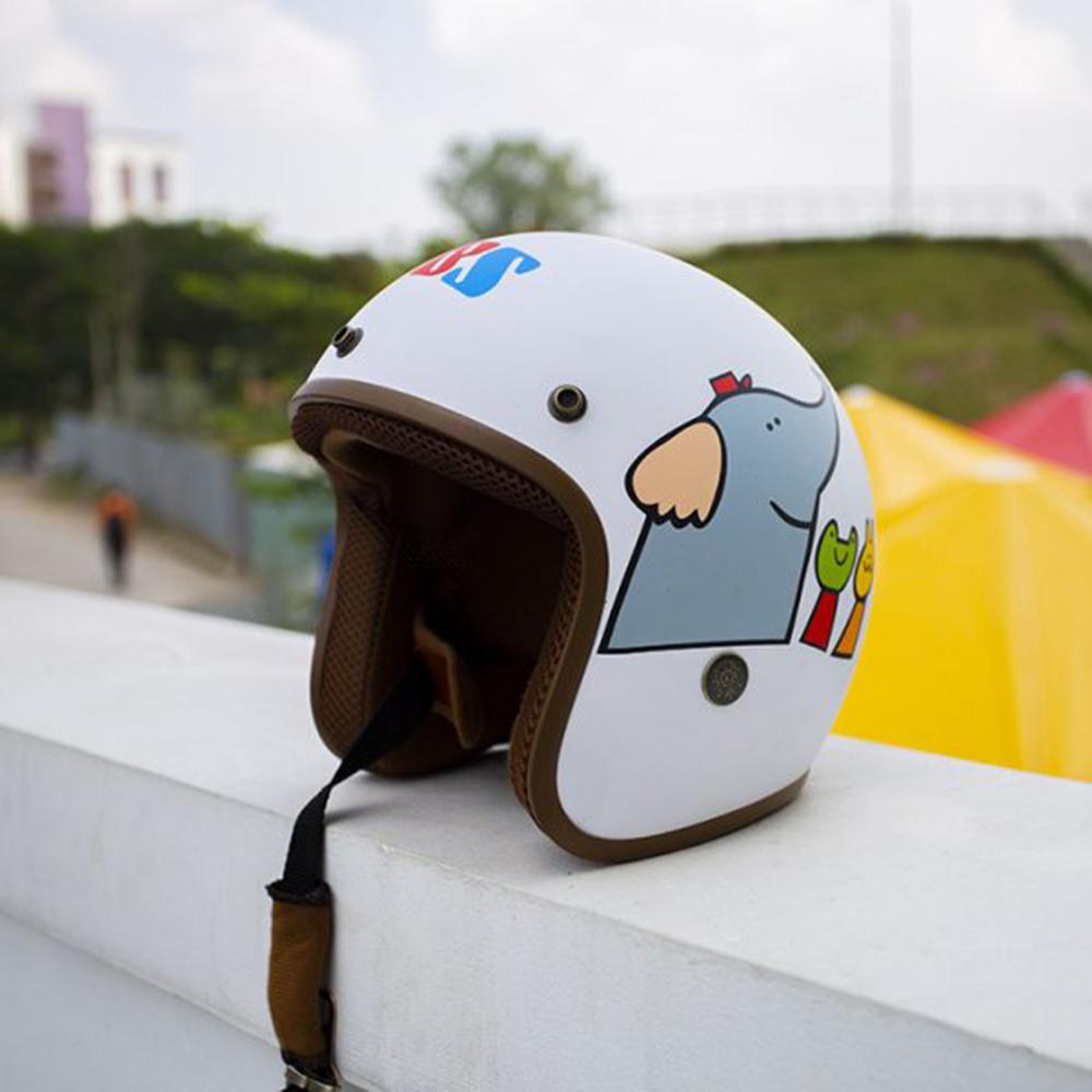 Mũ Bảo Hiểm nón phượt 3/4 đầu Hươu cao cổ + Kèm Kính Uv chống bụi, chống gió màu ngẫu nhiên