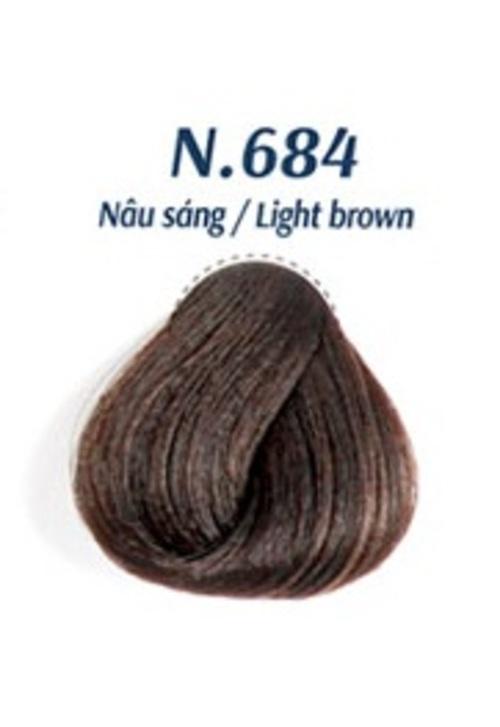 Nhuộm Phủ Bạc Cao Cấp Siêu Dưỡng,Tự Nhiên - Lavox 40 ML - N.684-Light Brown-Nâu sáng