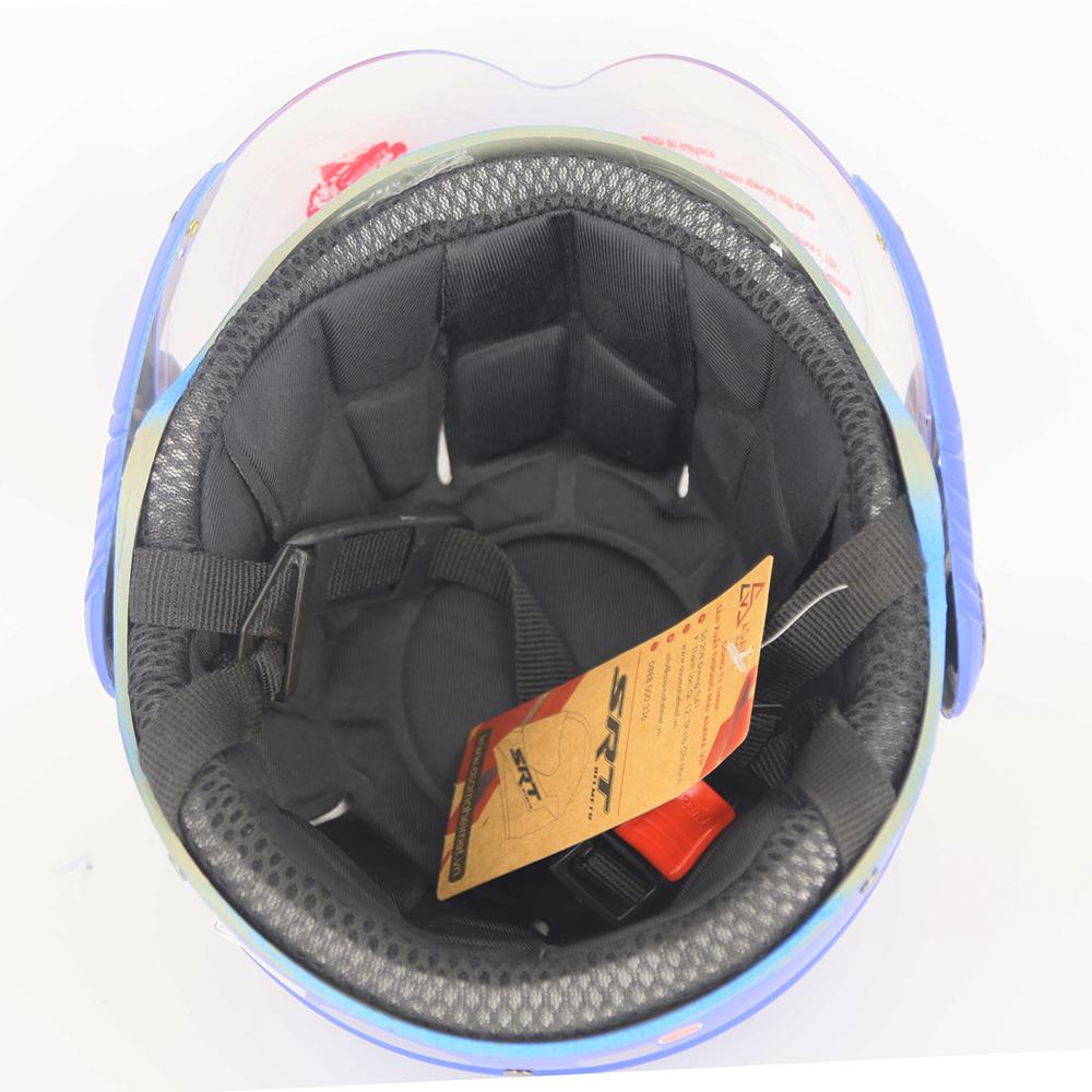 Mũ bảo hiểm nửa đầu SRT có kính hai bàn chân - Xanh mobi đáp đỏ