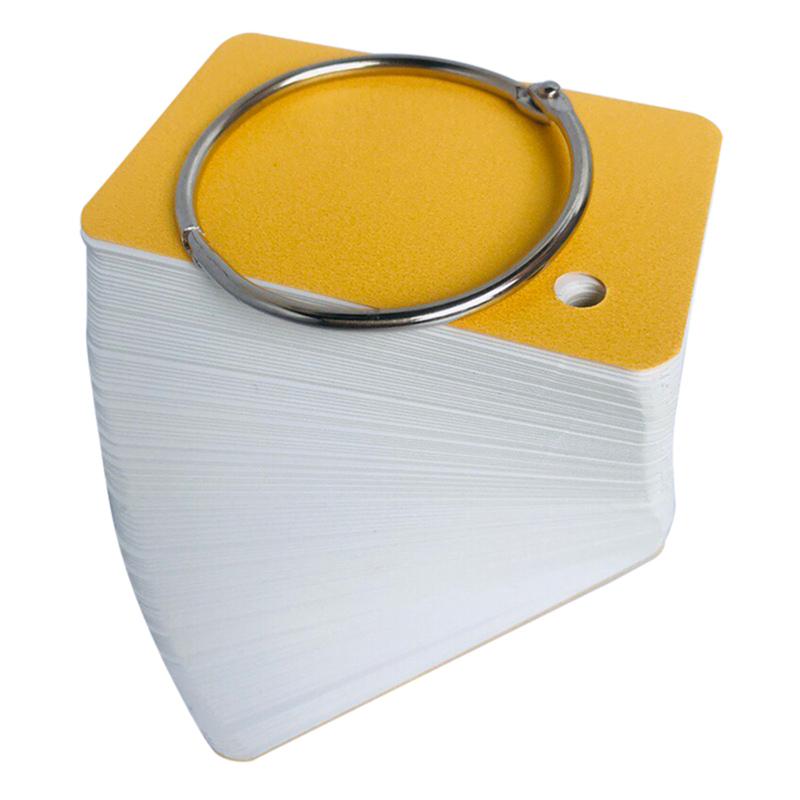 Combo 5 Xấp 100 Thẻ Flashcard Trắng 4.5 x 8 x 3.7cm Học Tiếng Anh Kèm Khoen Bìa