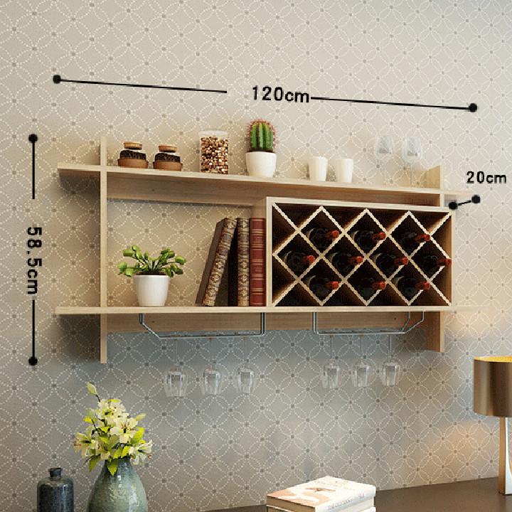 Kệ Rượu Vang Treo Tường Bằng Gỗ Có Giá Treo Ly Decor Trang Trí Quầy Bar Nhà Bếp - Giao màu ngẫu nhiên