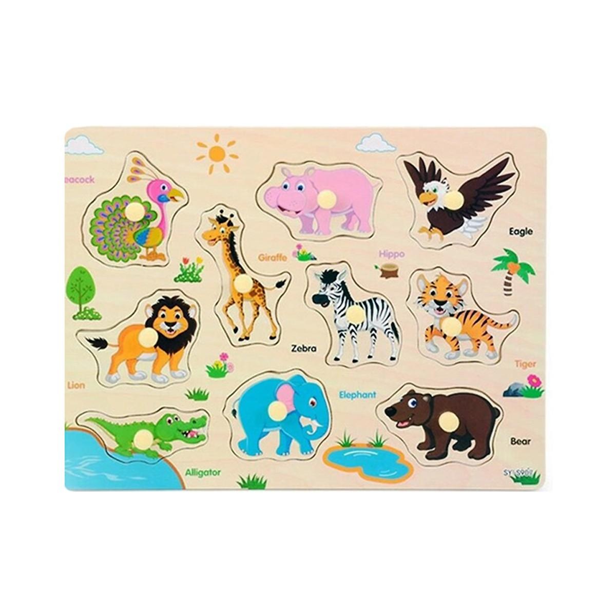 Combo 2 bảng núm gỗ chủ đề động vật hoang dã và sinh vật biển PN
