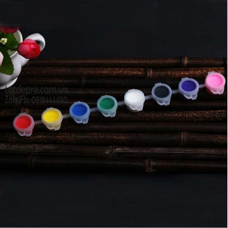 Bộ 8 màu nước và cọ lông cho bé tô màu