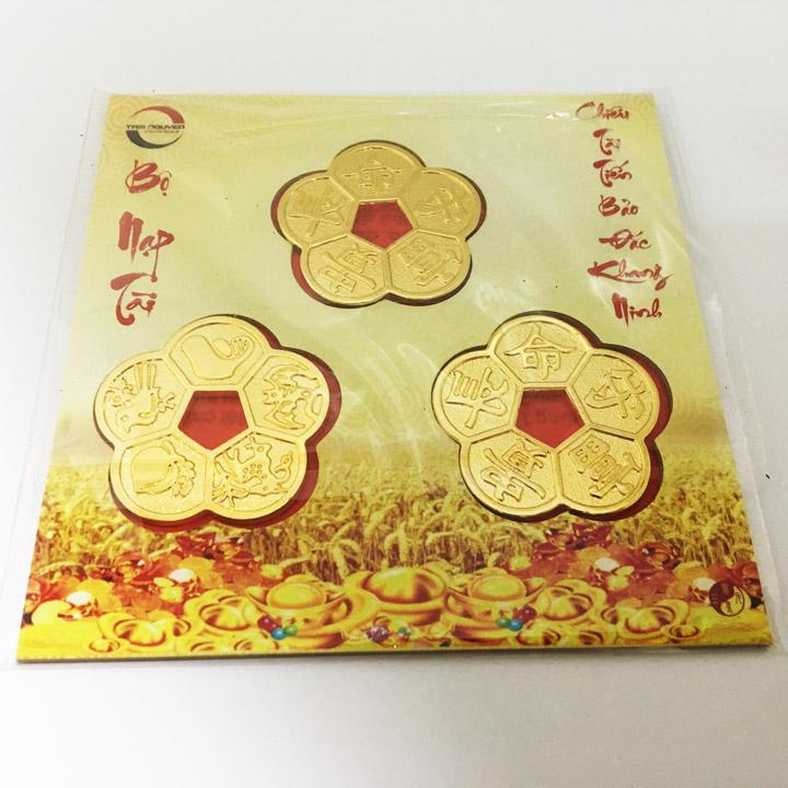 Bộ nạp tài két Tam cát hoa mai (phủ vàng 18K)