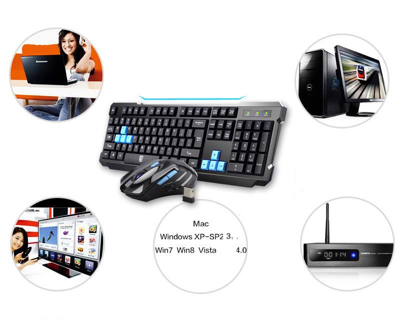 Bộ Bàn Phím Và Chuột Game Không Dây V-061 Công Nghệ Bluetooth 2.4 (Màu Ngẫu Nhiên) + Tặng Loa Nghe Nhạc Cao Cấp