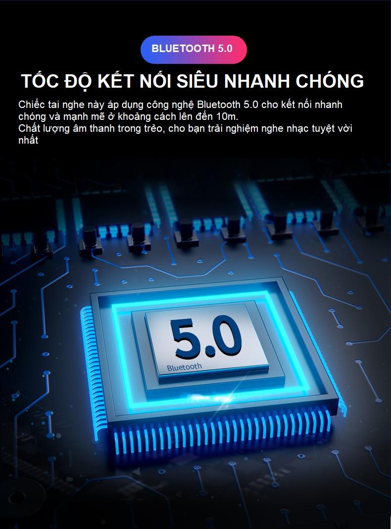 Tai Nghe Bluetooth 5.0 Chống Nước, Chống Mồ Hôi Phù Hợp Khi Chơi Thể Thao, Vận Động