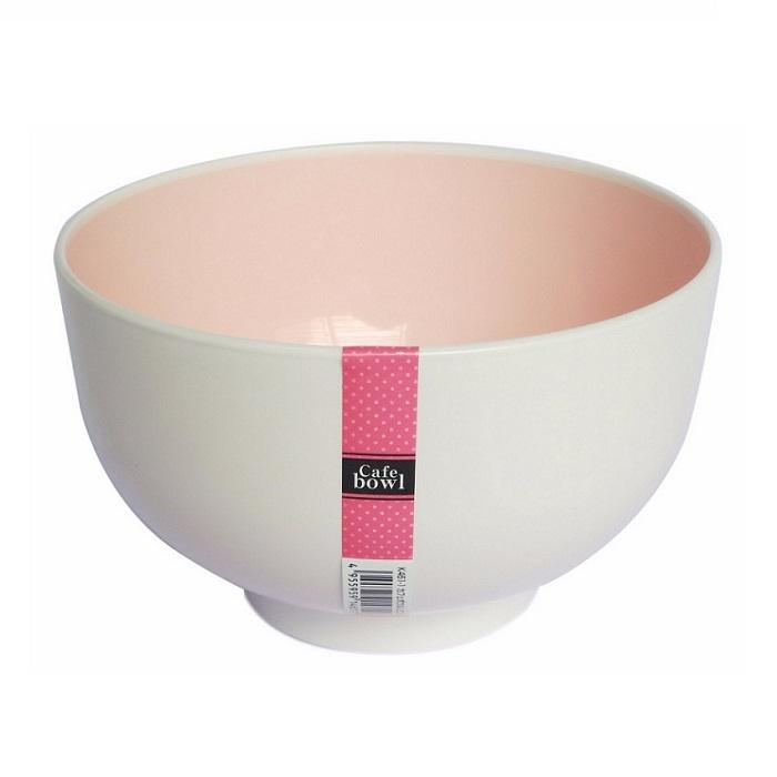 Tô nhựa tròn màu trắng lòng màu hồng - xanh 160 x 96Hmm nội địa Nhật Bản (Size lớn)