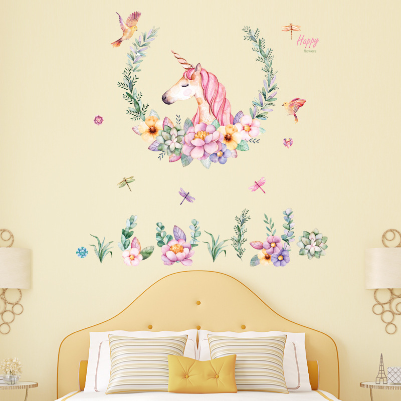 Decal dán tường trang trí Kỳ Lân Hồng Unicorn