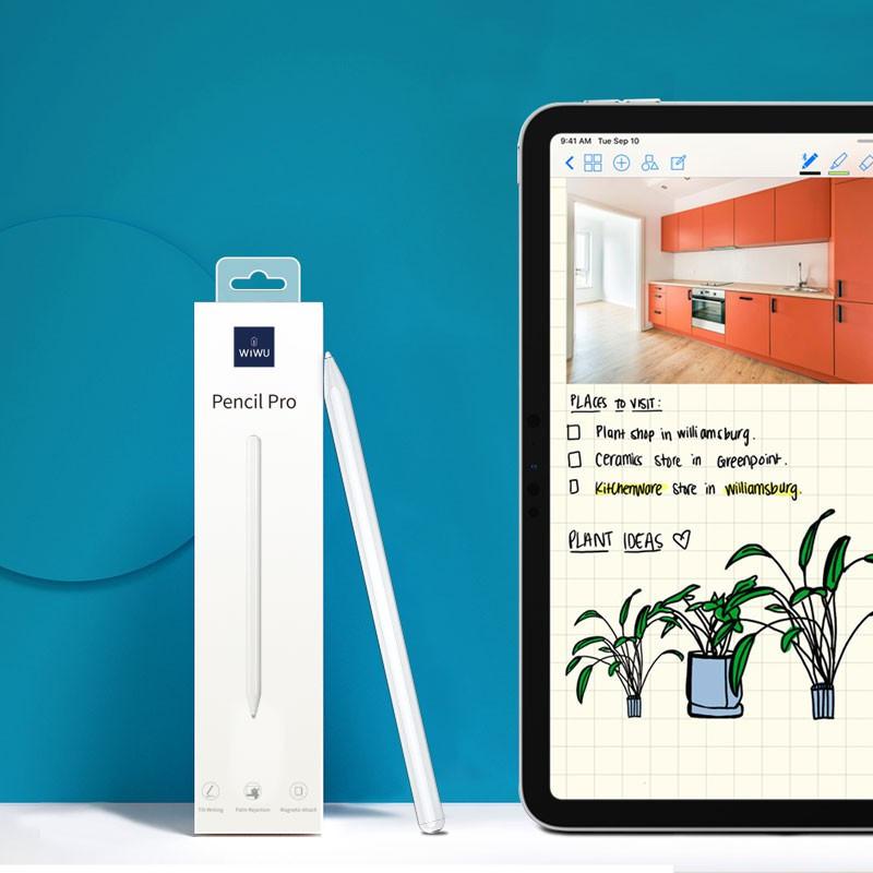 Bút cảm ứng stylus thông minh siêu mịn mượt hiệu WIWU Pencil Pro cho iPad Pro và các dòng iPad / iPad Mini từ đời 2018 trở lên hỗ trợ viết vẽ nghiêng hơn 60 độ, chống tì tay, trang bị nam châm hít vào iPad - Hàng nhập khẩu
