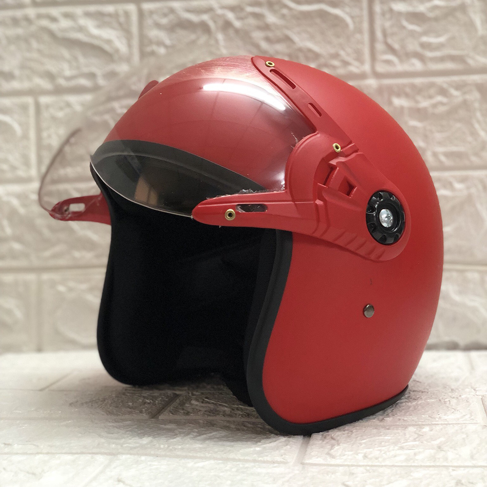 Mũ Bảo Hiểm Có Kính 3/4 Đầu N025 Bopa – Màu Đỏ Nhám Kính Trong _ Chống bụi, chống nắng đi được cả ban đêm
