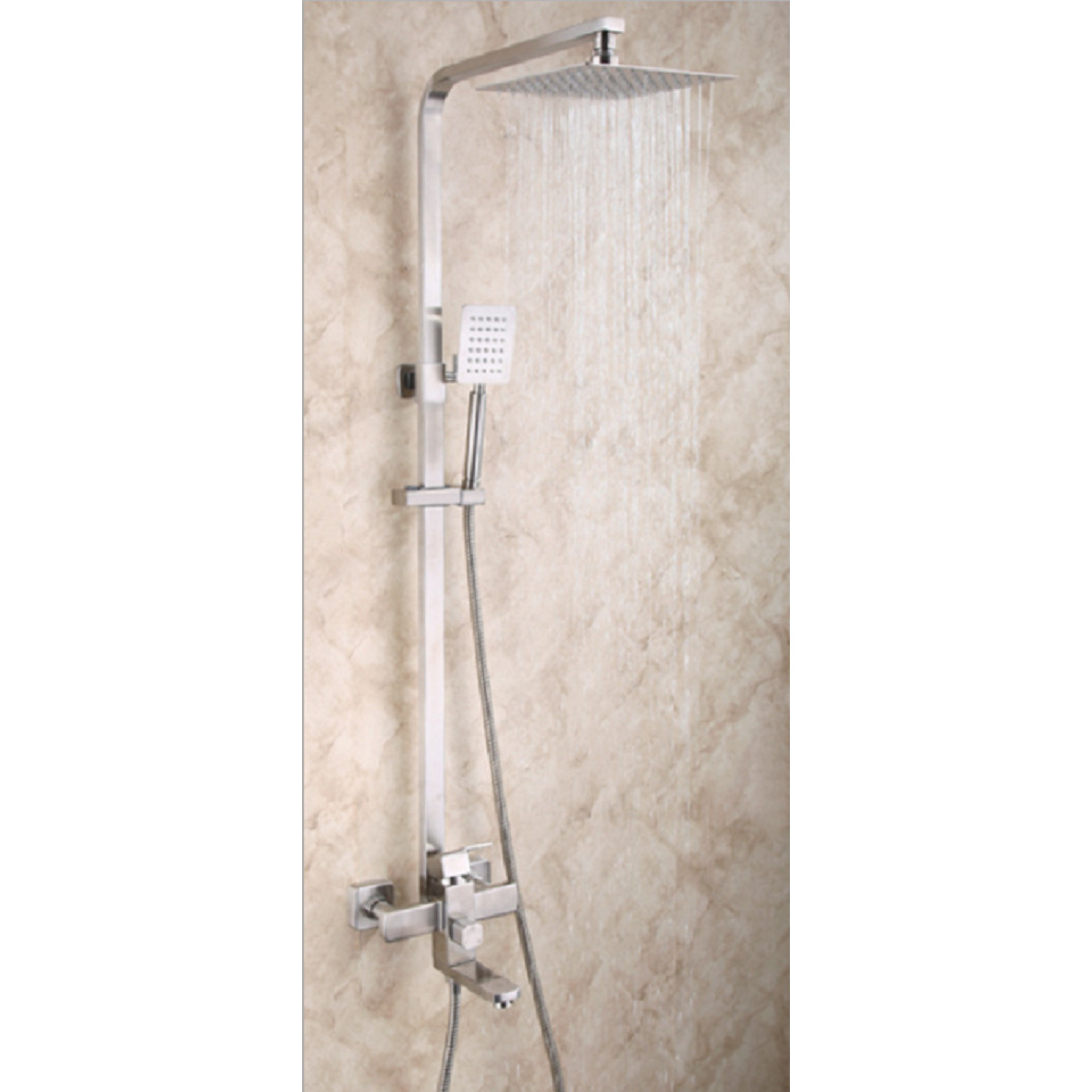 Bộ sen cây tắm đứng Inox SUS304 - Thân vuông - MS085