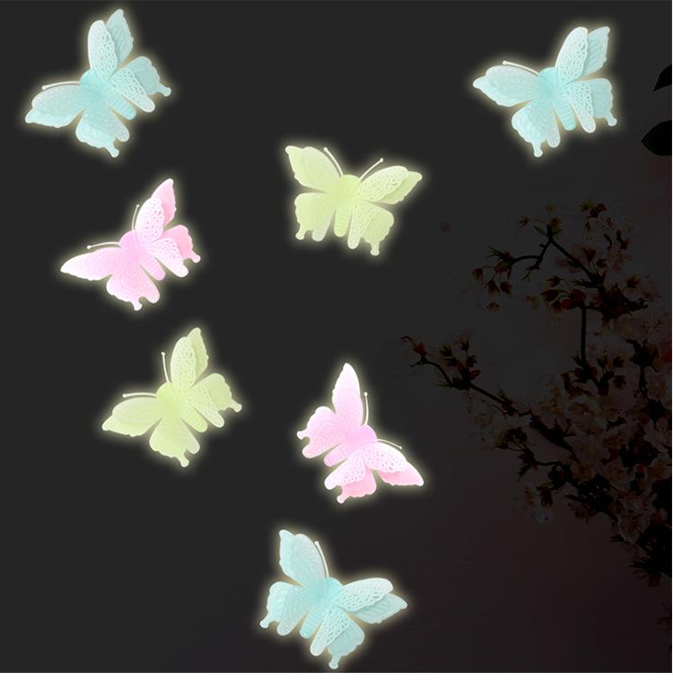 Bộ 6 miếng dán hình con bướm dạ quang phát sáng ( TRANG TRÍ PHÒNG NGỦ, PHÒNG TẮM, PHÒNG CỦA BÉ )