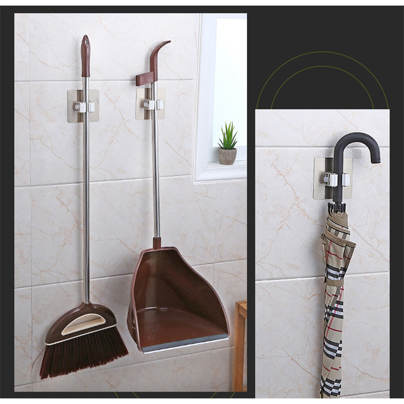 Móc dán tường đa năng treo chổi quét nhà, cây lau nhà, đồ hốt rác, chổi vệ sinh nhà tắm tiện lợi - combo 5 móc
