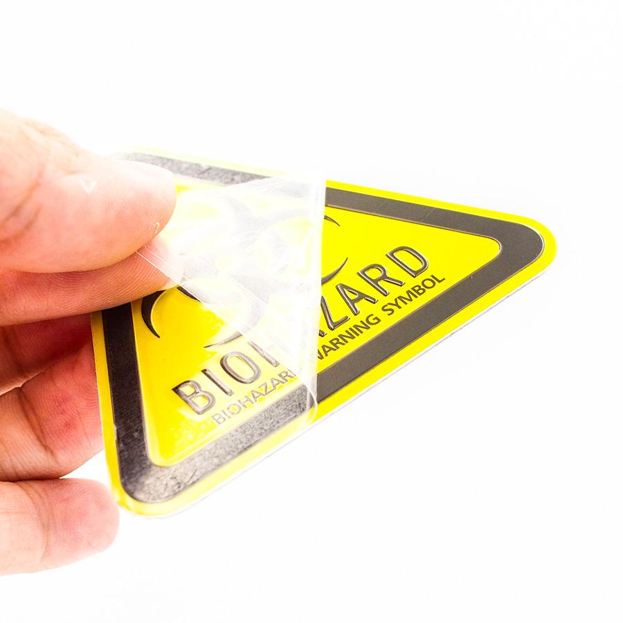 Biohazard Zombie tam giác vàng - Sticker hình dán metal kim loại