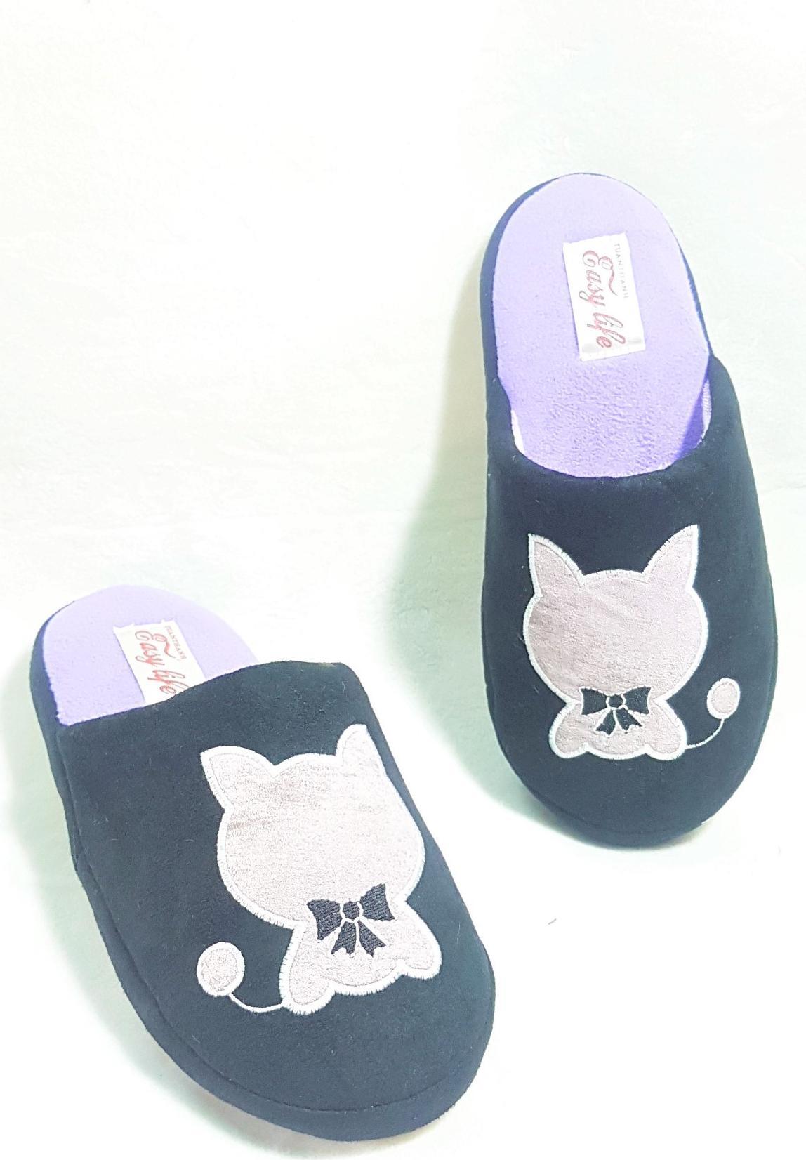Dép Đi Trong Nhà Nữ Easy Life Slippers Mèo Nơ 3464